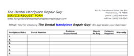 Handpiece Repair Service Request Form